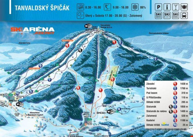 Mapa Ski areál Tanvaldský Špičák | Kam na lyže v Jizerských horách | Chalupa Amálka pronájem chalupy Jizerské hory