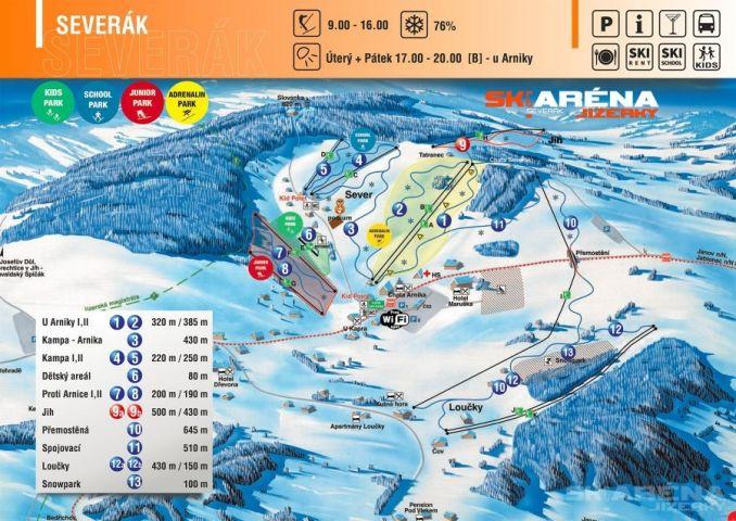 Mapa Ski areál Severák   Kam na lyže v Jizerských horách   Chalupa Amálka pronájem chalupy Jizerské hory