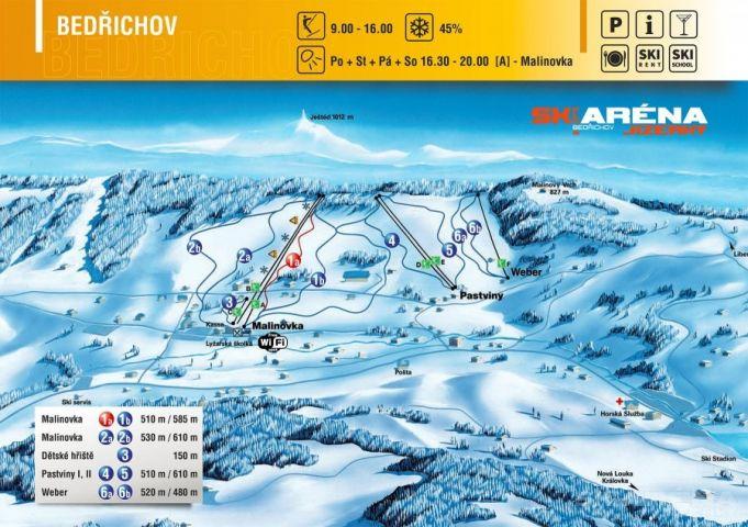 Mapa Ski areál Bedřichov   Kam na lyže v Jizerských horách   Chalupa Amálka pronájem chalupy Jizerské hory