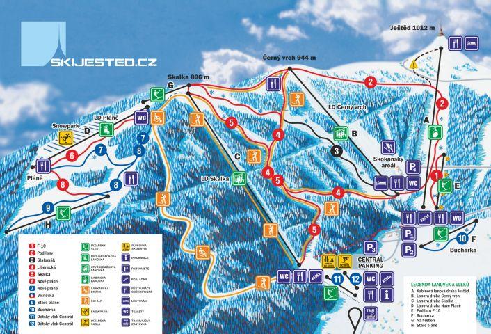 Mapa Ski areál Ještěd   Kam na lyže v Jizerských horách   Lyžování na Ještědu