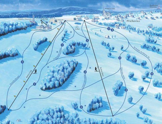 Mapa lyžařského areálu U Čápa   Lyžování Jizerské hory