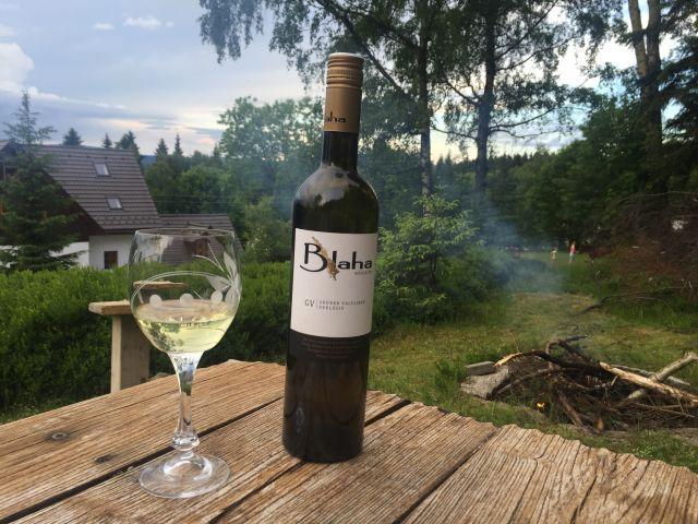 Posezení u ohniště s vínem z našeho sklípku | Chalupa Amálka Jizerské hory
